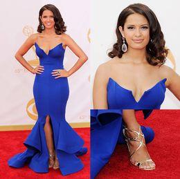 Most Popular Mermaid V-neck Floor Length Satin High Split Evening Dresses Free Shipping Cheap Evening Gowns Design Prom Dresses