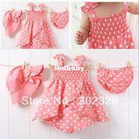 Cheap Girl Summer Polka Dots Dress Best Summer 100% Cotton Pink Polka Dots Dress