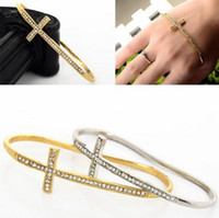 Wholesale 12X Fashion New Vintage Charm Cross Hand Palm Bracelet Bangle Cuff Ring Crystal Hot Bracelet woman Jewelry