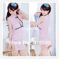 Men Kimono Asia & Pacific Islands Free Shipping Pink Color Sexy Chinese Costume Open Front Skirt and Thong Panty Sexy Cheongsam Uniform Wholesale Drop Ship A8404