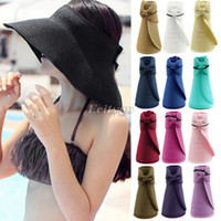 Wholesale New Women Lady Foldable Roll Up Summer Sun Beach Wide Brim Straw Visor Hat Cap fx240
