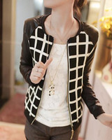 leather jackets for women - Lower price retail special design PU and cotton Patchwork jackets for women O Neck Long Sleeve Short Jacket girl cardigan leather jacket