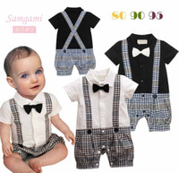 Wholesale Summer Baby Boys Gentle Style Plaid Bowtie One piece Rompers Kids Infant Clothing Shorts Jumpsuit Boy Grid High Quality Climb Clothes H0288