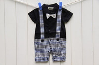 Wholesale 2014Summer Baby Boys Gentleman Plaid Bowtie One piece Rompers Kids Infant Clothing Shorts Jumpsuit Boy Grid High Quality Climb Clothes H0288