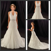 A-Line halter top wedding dress - DN Elegant Grace Sweep Train A Line Wedding Gowns Applique Sequined Sash Beaded Crystal Sexy Top Halter Open Back Bridal Dresses