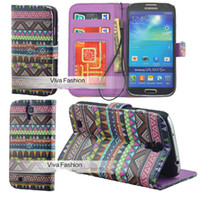 For Apple iPhone aztec patterns - New Tribal Tribe Stripe Aztec pattern Leather Wallet Cases card stander holder Flip Pouch back covers case For iphone S3 S4 note
