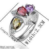 Wholesale Pink Peridot Amethyst crystal fashion Silver RING Rhinestone RING sz