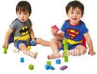 Wholesale set Short Sleeve Superman Romper Batman Romper Baby Boy Romper with Dress Smock Baby Cloak baby jumpsuit