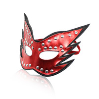 Masks adult sex mask - Sexy Red Two layer pvc leather eye mask for role playing sex toy adult novelty