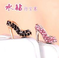 Wholesale shinee kpop Lovely Cute heart mm high heel stoppers mobile phone headset dust plug DHL FEDEX