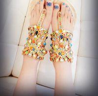 New Korean brief large gem rhinestone lambdoid women's flip-flop shoes