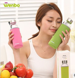 Wholesale 2014 hot sell Outdoor sports cup Insulated glass water bottle Advertising Cupm Creative Glass cup