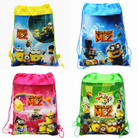 Wholesale 2014 New Arrival Despicable Me Minions Kids Drawstring Backpack Bags Shopping School Traveling GYM bags waterproof fabric