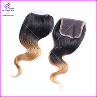 Wholesale On Sale Brazilian Virgin Human Hair Lace Closure Body Wave Ombre Hair Extensions B Free Part Queen Hair Top Lace Closure
