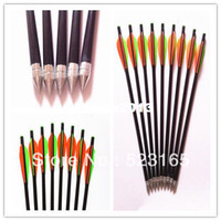 Wholesale 24pcs hunting bow crossbow fiberglass arrow archery hunter hunting arrow steel arrow head broadheads tips fixed