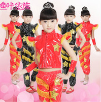 Wholesale Boys Girls Sequins Stars Fringed Shoulder Patent Leather Jazz Stage Suits Children s Dancewear Performance Clothes Modern Stage Costume