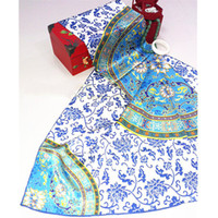 Wholesale 100 hand made Silk Scarf Blue amp White Porcelain Chinese traditional ethnic style