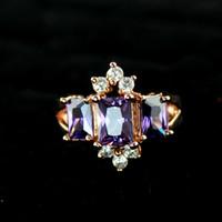 Three Stone Rings big purple rings - Wedding Jewlery K Rose Gold Plated Alloy Purple Imitation Crystal Big Finger Rings for Women