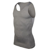 Wholesale MEN S HEATGEAR Fitted Gym Training Squeeze COMPRESSION SLEEVELESS stretchy Sport Vest Tank Tee T Shirts Colors