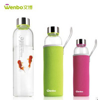 Wholesale 3 colors gray green rose red Outdoor sports cup Insulated glass water bottle Advertising Cupm Creative Glass cup
