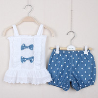 Girl Spring / Autumn Short 2014 Summer Baby Girl 2pcs Suits T-shirt+Shorts Clothing Cotton Sets Top T-shirt And Dot Denim Shorts Outfits Kids Clothing Suits SD-GD702