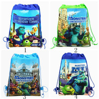 Wholesale MOQ Monsters University Children Drawstring Backpacks Bags Kids Shopping School Traveling GYM bags waterproof fabric Party Gift Bags