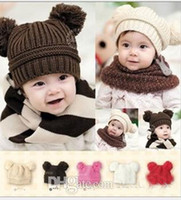 Unisex Winter Crochet Hats - Free Shipping Fashion Baby Winter Beanie Hat Baby Toddler Knitted Double Ball Knitted Cap Children Hats Children Crochet Mouse Capb