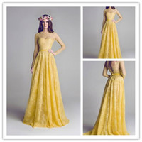 Wholesale New Design A Line Formal Evening Dresses Yellow Lace Long Sleeve Prom Gowns V Back Pageant Dress Party Gowns