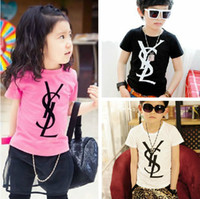 hot pink shirts - Children Clothes New Fashion The Summer Kids Girls Boys Child Baby Letter Short sleeve Hot Pink White Black Cotton T shirts