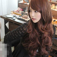 mix color  Long Girl Cheap Party Wig Curly Oblique Bang Style 4Colors 6pcs Free Shipping 0419C24