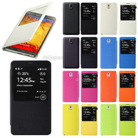 Wholesale 2014 new hot selling colorful Thin Leather Flip View Case cover for samsung Galaxy N9000 N9005 Note III HX23