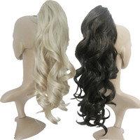 Wholesale curly weavy synthetic clip in hair extensions curly ponytails pc