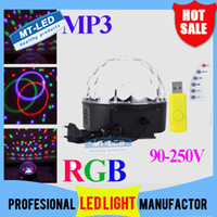 Wholesale RGB MP3 Magic Crystal Ball LED Music stage light W Home Party disco DJ party Stage Lights lighting U Disk Remote Control lamp