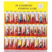 al por mayor señuelos de pesca-S5Q 30pcs Tipos de pesca señuelos rotación lentejuelas Set ganchos Minnow Baits Tackle AAADCG