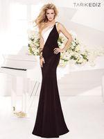 Wholesale 2014 Tarik Ediz Sexy Evening Dresses Sheath Scoop One Shouler White And Black Chiffon Formal Gowns Celebrity Dresses