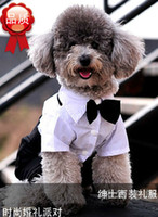 Wholesale 1404c Handsome Formal Dog Jumpsuit with Bow Tie Groom Tuxedo Pet Costumes Dog Clothing