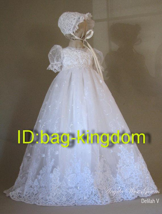 Angela west christening gown white lace with beaded and for Making baptism dress from wedding gown