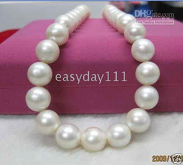 Real Fine Pearl Jewelry huge 12-13mm genuine south sea white pearls necklace 18inches 14K