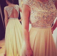 Wholesale 2014 Gorgeous Crystals Beaded Prom Gowns Scoop Neck Cap Sleeve Backless A Line Floor Length Chiffon Evening Dresses Pageant Graduation Gowns