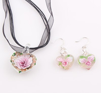 Wholesale Mother s Day Gift Classic Heart Murano Glass Pendant Necklace Earrings Mom s Gift Lampwork Glass Jewelry Set ZST42