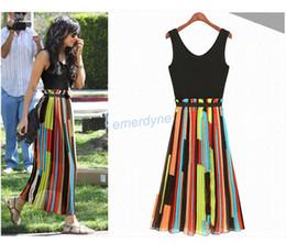 Wholesale Hot Sale Sexy Women s Celeb Irregular Stripe Mosaic Long Chiffon Vest Dress Colourful Personality Casual Dress Size S M L