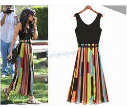 Wholesale Hot Sale Sexy Women s Celeb Irregular Stripe Mosaic Long Chiffon Vest Dress Colourful Personality Casual Dress Size S M L