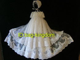 2014 Christening gown elegant white lace with beaded and fit hat ( three layers ) Custom-made size