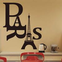 al por mayor mural de la pared parís-Envío de la venta caliente de la torre Eiffel de París pegatinas de pared extraíble etiqueta del vinilo del arte de la decoración del hogar