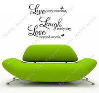 Wholesale DIY Live Laugh Love Quote Removable PVC Wall Sticker Decal Art Home Decor Black TK1412