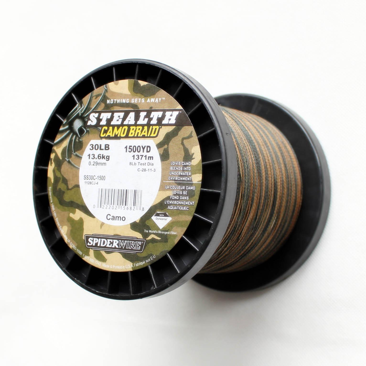 Spiderwire stealth camo braid fishing line 1500yd 30lb for Bulk braided fishing line
