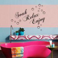 Removable bathroom bubbles - soak relax enjoy Bubbles Bathroom Wall Stickers DIY Home Decoration
