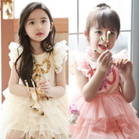 2014 Boutique Dress Girl Lace Puff Sleeve Dresse Butterfly S...