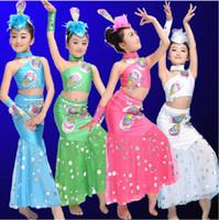 ballet performance dress - Girls Oblique Sequins Lace Skirt Dai Peacock Dress Folk Dance Clothes Children s Dancewear Performance Modern Ballet Latin Dance Stage Wear