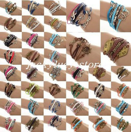 Wholesale 24pcs NEW Fashion Leather Cord Infinity Charm Bracelet Silver lots Mixed Friendship Bracelet Jewelry
